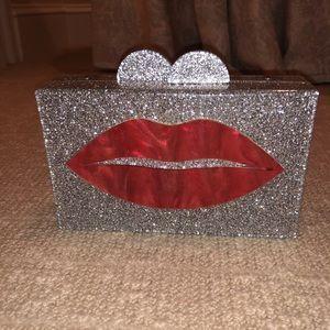 Gigi Enamel Lips Clutch Handbag NWT